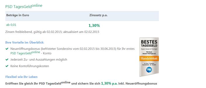 Sonderzinsaktion pSD Bank Hessen-Thüringen